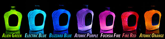 Glowing Bottles for Display in Bar, Nightclub, Home Decor - Blacklight Glow in the Dark Effect!
