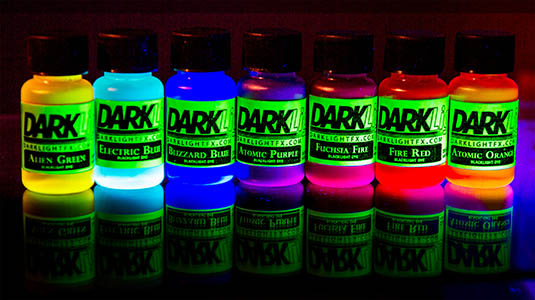 All 7 Colors Of Darklight FX Blacklight Dye